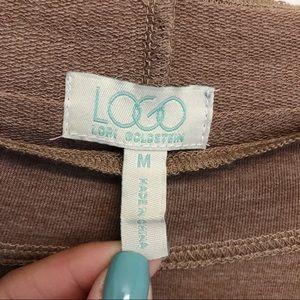 LOGO by Lori Goldstein Tops - LOGO Lori Goldstein Roll Tab Tan Lace Trim Tunic